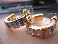 24K chanel gold diamond circle earrings