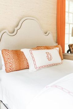 When decorating a room, color accents are the fastest way to change your surroundings. You'll find orange in my master bedroom to bring cheer. Learn my tips for decorating with color accents and shop this room here at J Cathell Condo Bedroom, Master Bedroom, Fiddle Fig Tree, Large Chandeliers, Window Coverings, Accent Colors, My Room, Color Schemes, Bed Pillows