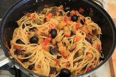 Spaghete cu vinete si rosii