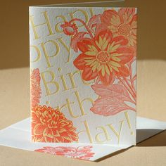 Painted Tongue - Dahlia Birthday Card