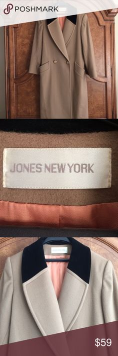 """Jones New York 💯% Wool coat, size 10 Beautiful & Elegant Jones New York 100% wool, double breasted, dress coat.  Size 10.  Measurements:  22"""" width flat across (buttoned), 49"""" length (top of shoulder to bottom).  Fully lined, calf length.  Great condition; No holes, snags, stains, etc.  Stay warm while looking stylish!  Smoke free home 🏡! Jones New York Jackets & Coats Trench Coats"""