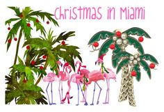 """Christmas in Miami"" by tornpaperco ❤ liked on Polyvore featuring art"