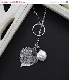 Silver Leaf and Pearl Y Necklace Bridesmaid Gift  by JamJewels1, $43.00