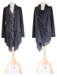 Top asimétrico en capas / envoltura sudadera / larga chaqueta de abrigo Slouchy - túnica negra / chaqueta de luz / Unique Cardigan Sweater n...