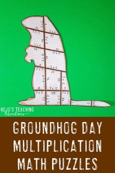 Check out these Groundhog Day multiplication math puzzles. They're a great center, station, or rotation game for your 3rd, 4th, or 5th grade upper elementary classroom or homeschool students. Plus you can use them as a craft activity - just decorate them for the bulletin board when you're done putting them together. Skip the worksheets, this is more fun! {third, fourth, fifth graders, intermediate grades, home school, Groundhog's Day, Groundhogs Day}