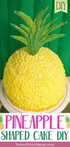 How to make a Birthday Pineapple Shaped Cake - Press Print Party! PINEAPPLE SHAPED CAKE – Create a fun pineapple themed cake for your luau birthday party. Tropical Home Decor, Tropical Party, Tropical Colors, Tropical Interior, Tropical Furniture, Tropical Pattern, Birthday Cakes For Teens, Birthday Parties, Birthday Ideas