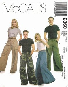 This hilarious rave pants pattern could probably be modified to make Oska Santina type balloon pants. 2000s Fashion, Fashion Mag, Fashion Outfits, Fashion Design, Suit Pattern, Pants Pattern, Rave Pants, Mens Slacks, Mccalls Sewing Patterns