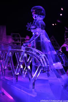 """Ice sculpture exhibition in Brugge. This year the theme of the exhibition was a new Walt Disney film """"Frozen"""", made after the famous fairy tale by G.H. Andersen """"Snow Queen"""""""