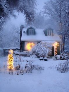 The warmth of a wintery cottage