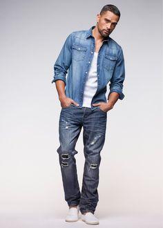Hemd im Jeanslook - Cooles dunkelblaues Hemd von RAINBOW. Das Hemd im Jeanslook hat zwei Brusttaschen. - ab 24,99€
