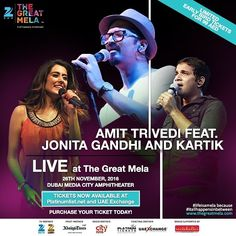 #JonitaGandhi and #Karthik join #AmitTrivedi in creating a #beautiful #musical #extravaganza at #ZeeTheGreatMela. An #experience not to be missed! Get your #ticket today at bit.ly/TGMTickets  #lifeisamela and #itallhappensinbetween . . . #dubai #uae #party #thursdays #instamusic #liveperformance #concert #concerts #mydubai #india #bollywoodmusic #bollywood #musicians #instamusic #songs #hindimusic #hindisongs #zeetvme #instalike