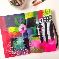 Painted journal spread by /ihanna/ of http://www.ihanna.nu #artjournaling #abstract
