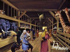 Famila lui Noe ingrijesc animalele in corabie in timpul potopului.inside Noah's Ark - the animals