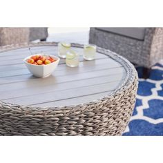 Hampton Bay 36 in. Megan Grey All-Weather Wicker Outdoor Patio Large Round Coffee Table with Slatted Wood Top - The Home Depot Wicker Coffee Table, Outdoor Coffee Tables, Coffee Table Design, Round Coffee Table, Glass Top Coffee Table, Coffee Table With Storage, Patio Lounge Chairs, Patio Table, Grey Furniture Sets