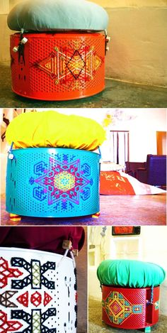 Don't know what to do with old washing machine drum? Here are some practical ideas to recycle washing machine drum into functional objects. Upcycled Home Decor, Diy Home Decor, Cardboard Chair, Washing Machine Drum, Large Picture Frames, Diy Stool, Metal Drum, Elements Of Design, Drum