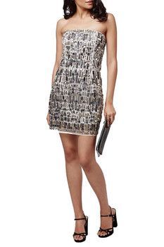 TOPSHOP Embellished Strapless Body-Con Dress