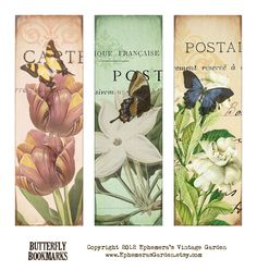 Ephemera's Vintage Garden: Weekly Freebie: Butterfly Bookmarks
