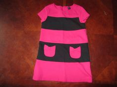 38a2ac905 BABY GAP hot pink and black striped dress with bow pockets, short sleeved.  3T