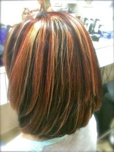 tri color highlights on shoulder length hair by evangeline