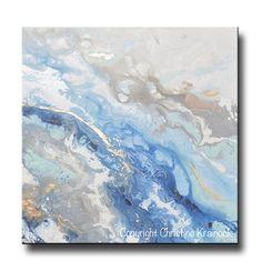 ORIGINAL Art Modern Blue White Abstract Painting Marbled Blue Grey Gold Leaf Coastal Decor Wall Art - Christine Krainock Art - Contemporary Art by Christine - 3
