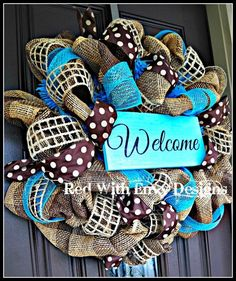 Summer Wreath with deco mesh and burlap