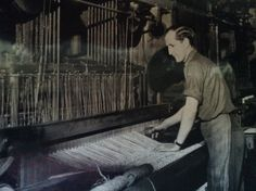 Mr George Rice at work on a loom at the Brush Factory in Diss.
