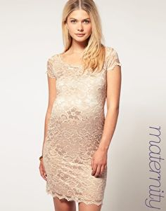 Maternity lace dress. ASOS short sleeve slash neck lace dress. $71....I wish I had this when I was pregnant.