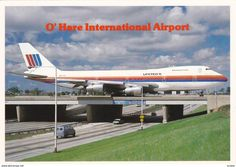 Jumbo Jet Taxis across Expressway , O'Hare International Airport, Chicago , Illinois , 60-80s