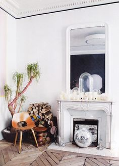 Fireplace inspiration, seriously a disco ball is awesome!