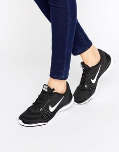 Nike | Nike Black And White Flex 6 Trainers