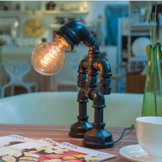 New Style 2014 Novelty Creative Gadget Vintage Industry Edison Water Pipe Touch Control Table Lamps Desk Lights wihout Lampshade
