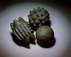 Approximately 5,000 years old these enigmatic stone 'balls' were discovered at the Neolithic village of Skara Brae, Orkney, Scotland. Their original use remains a mystery.