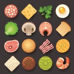 Vivid food icon design vector 03