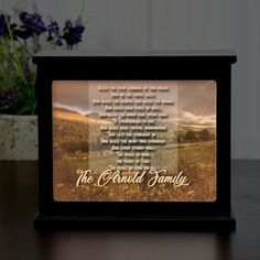 illuminated light box has family last name and is a great housewarming gift.