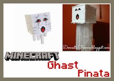 Minecraft Ghast Pinata by Domestic Femme.....I would do a creeper instead.