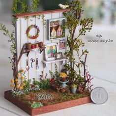 Garden♡ ♡ by coco style Miniature Plants, Miniature Rooms, Miniature Fairy Gardens, Miniature Houses, Miniature Furniture, Diy Dollhouse, Dollhouse Miniatures, Craft Stick Crafts, Diy And Crafts