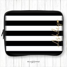 Personalized laptop sleeve, macbook, macbook pro, macbook air, universal, 10, 11, 13, 15, monogram, laptop case, stripes, black, white, gold