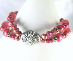 Coral Rose Sunset  Double Strand Bracelet with by BZOriginals, $34.95