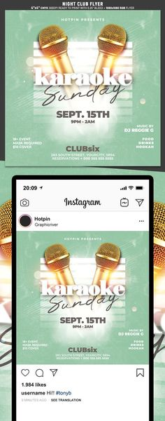 """Karaoke Flyer Template is very modern psd flyer that will be the perfect invitation for your Night Club event or party! All elements are in individual layers and the text is fully editable! 2 PSD files – 4""""x4"""" with 0.25"""" bleed + 1080×1080 Rgb Social media ready Clearly labelled folders and layers"""