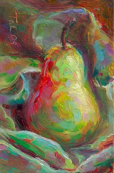 Just a Pear, oil on canvas board by Talya Johnson   Sometimes, a pear is just a pear! Simple, bold and filled with abstract organic shapes, this still life oil painting is sure to bring liveliness, color and sweetness to any decor. Use it as a large canvas print centerpiece, or a delicate fine art print accent to bring the freshness of nature's fruit into you home or office,