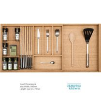 Luxury Oak expanding utensil tray adjusts to the width of your drawer; compartments to house knives, spice bottles, cutlery and utensils Built In Kitchen Bins, Kitchen Drawer Inserts, Kitchen Drawers, Kitchen Tops, Diy Kitchen, Kitchen Interior, Utensil Trays, Utensils, Drawer Inspiration