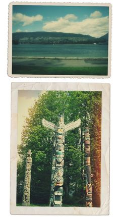Vancouver (Stanley Park) using a fun little app called Lo-Fi. Via Camilla Engman Stanley Park Vancouver, Visit Vancouver, North Vancouver, City Of Glass, Totem Poles, Canada, Round Trip, British Columbia, Travel Inspiration