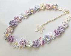 レース編み*花かごロングネックレス(ミスティーラベンダー)