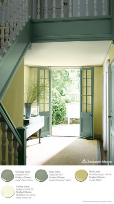 Benjamin Moore Color Trends 2015 - Stairway: high park 467 Aura Semi-Gloss, Doors: high park 467 Grand Entrance Satin, Walls: timothy straw 2149-40 Aura Matte, Ceiling: seahorse 2028-70 Waterborne Ceiling Paint  Ultra-Flat