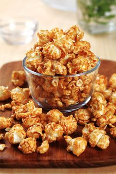 Caramel Popcorn - great recipe, but I use 1/2 the butter and double the popcorn. The baking of it really puts it over the top.