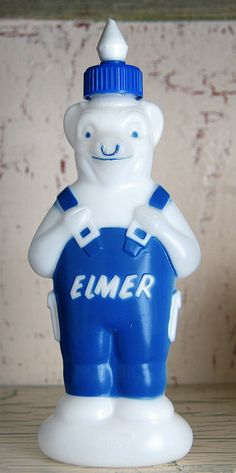 Elmer's Glue, 1960's. FYI, this is a cow shaped bottle because Elmers and Bordens was the same company, Elmer was the husband of Bordens iconic Elsie the cow.