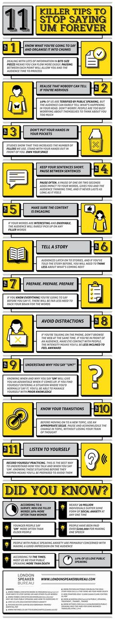 infographic 11 Killer Tips to Stop Saying um Infographic. Image Description 11 Killer Tips to Stop Saying um Infographic Mundo Marketing, Marketing Mail, Speech And Debate, Public Speaking Tips, Presentation Skills, Presentation Design, Communication Skills, Life Skills, Self Improvement