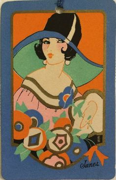 1920s Art Deco Lady in Floppy Hat Bridge Tally Card