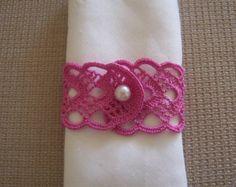 crochet napkin rings 2 piece bougainvillea COLOUR