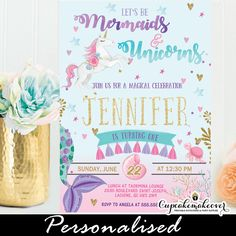 These Mermaid and Unicorn Invitations are a little girl's dream, invite friends and family to her magical birthday party celebration. The mermaid and unicor Birthday Party Celebration, Unicorn Birthday Parties, Unicorn Party, First Birthday Parties, Birthday Party Decorations, First Birthdays, Birthday Ideas, Mermaid Birthday, Diy Birthday